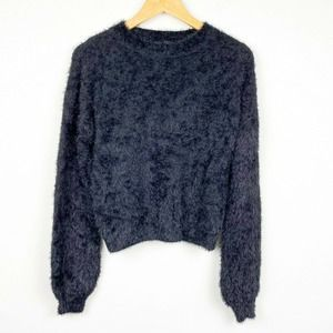 Nasty Gal fuzzy black faux puff sleeve sweater